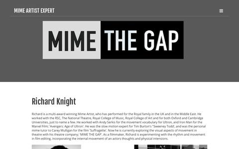 Screenshot of About Page mimethegap.com - About | MIME ARTIST EXPERT - captured Sept. 21, 2018