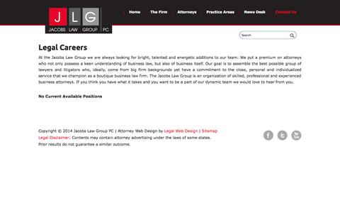 Screenshot of Jobs Page jacobslawgrouppc.com - Philadelphia business divorce lawyers - PA corporate law firm - Philadelphia entertainment attorneys - captured Sept. 30, 2014