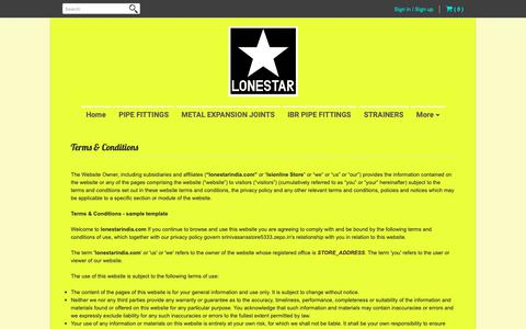 Screenshot of Terms Page lonestarindia.in - Terms & Conditions | www.lonestarindia.in - captured Oct. 24, 2018