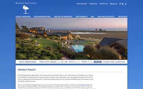 Screenshot of Privacy Page bodegabaylodge.com - Bodega Bay Lodge | Bodega Bay Hotel | Bodega Bay Privacy Policy - captured Sept. 19, 2014