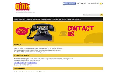 Screenshot of Contact Page oinkstore.in - Contact Us - captured Oct. 27, 2014