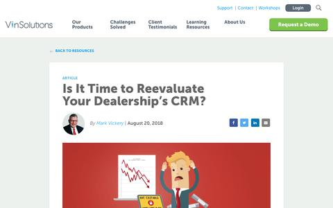 Screenshot of Blog vinsolutions.com - VinSolutions - Is It Time to Reevaluate Your Dealership's CRM? - captured Dec. 3, 2019