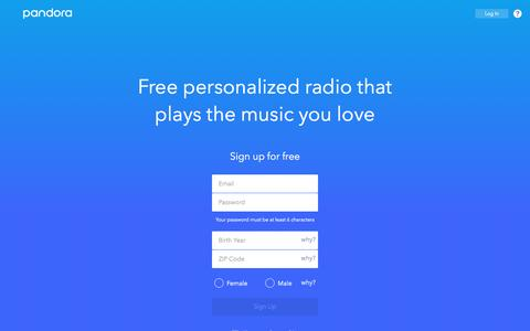Screenshot of Signup Page pandora.com - Pandora Radio - Listen to Free Music You'll Love. - captured March 21, 2017