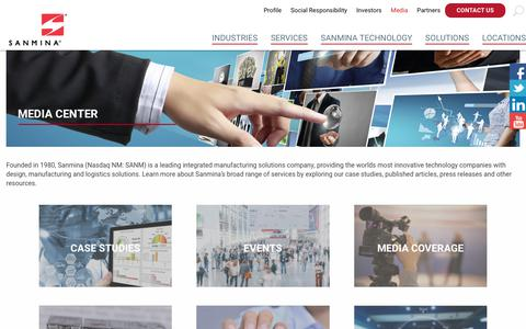 Screenshot of Press Page sanmina.com - Media Center - Sanmina - captured Nov. 6, 2019