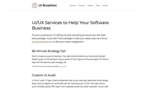 Screenshot of Services Page uibreakfast.com - UI/UX Services to Help Your Software Business - UI Breakfast - captured Feb. 4, 2018