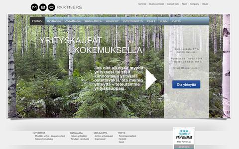 Screenshot of Home Page mbopartners.fi - Yrityskaupat | MBO Partners - captured Oct. 3, 2014