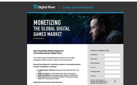 Screenshot of Landing Page digitalriver.com - Monetizing the Global Digital Games Market   Webinar - captured March 23, 2016