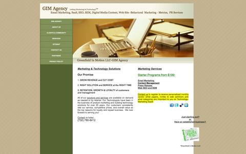 Screenshot of Home Page gimagency.com - Greenfield In Motion LLC - captured Oct. 3, 2014