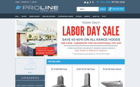 Screenshot of Home Page prolinerangehoods.com - Proline Range Hoods - captured Sept. 5, 2016