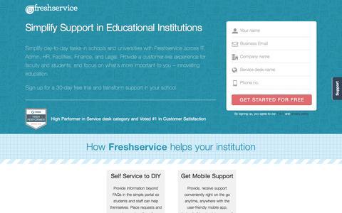 Screenshot of Landing Page freshservice.com - IT Service desk Software for Schools & Universities | Freshservice - captured Aug. 17, 2016