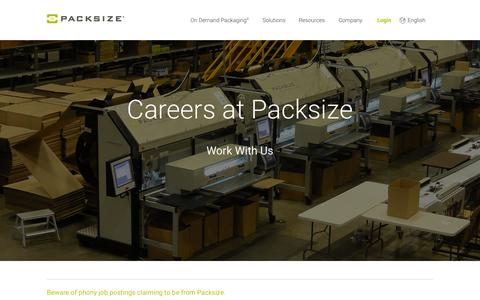 Screenshot of Jobs Page packsize.com - Careers - Packsize� - captured Nov. 6, 2015