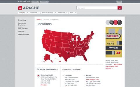 Screenshot of Locations Page apache-inc.com - Apache - Locations - captured Dec. 25, 2015