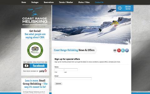 Screenshot of Signup Page coastrangeheliskiing.com - Sign up for emails - Coast Range Heliskiing - captured Sept. 30, 2014