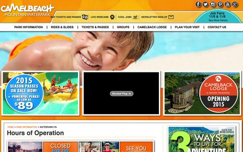 Screenshot of Hours Page camelbeach.com - Waterparks PA | Camelbeach Waterparks Hours of Operation - captured Oct. 31, 2014