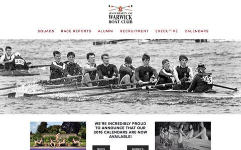 Screenshot of Home Page warwickrowing.org - University of Warwick Boat Club - captured Jan. 21, 2016