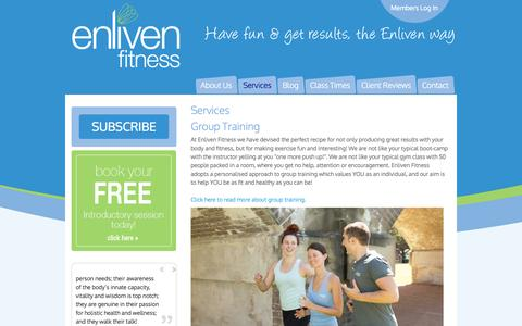 Screenshot of Services Page enlivenfitness.com - Services - captured Oct. 29, 2014