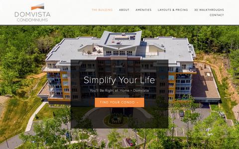Screenshot of Home Page domvista.ca - Domvista Condos in West Bedford-Halifax, Nova Scotia - captured Nov. 14, 2018