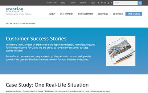 Screenshot of Case Studies Page creationtech.com - Case Studies | Creation Technologies LP - captured Feb. 1, 2016