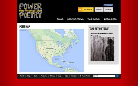 Screenshot of Maps & Directions Page powerpoetry.org - Poem Map | Power Poetry - captured Sept. 25, 2014