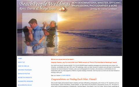 Screenshot of Home Page beachpeopleweddings.com - BeachPeople Weddings | North and South Carolina Beach Wedding Packages - captured Oct. 5, 2014