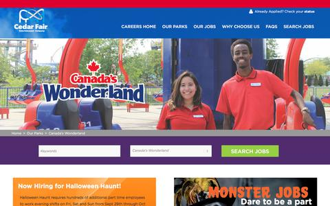 Screenshot of Jobs Page cedarfair.com - Fun Jobs at Canada's Wonderland | Search Park Jobs and Apply Online Now - captured July 15, 2018