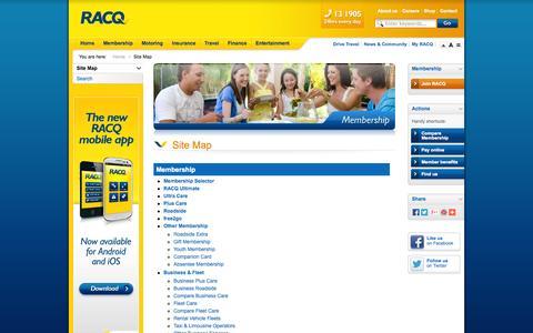 Screenshot of Site Map Page racq.com.au - Site Map               | Home | RACQ - captured Sept. 19, 2014