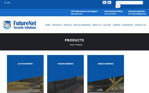 Screenshot of Products Page futurenetsecurity.com - Access Control And Electronic Monitoring System | Security Barriers Manufacturer - captured Oct. 11, 2018
