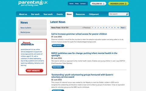 Screenshot of Press Page parentinguk.org - Parenting UK - captured June 11, 2016