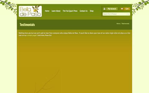 Screenshot of Testimonials Page belladepaso.com - Bella de Paso   –  Testimonials - captured Sept. 30, 2014