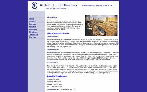 Screenshot of Maps & Directions Page hurleywire.com - Arthur J. Hurley Company: Electrical Wire and Cable Products: Directions - captured Oct. 4, 2014