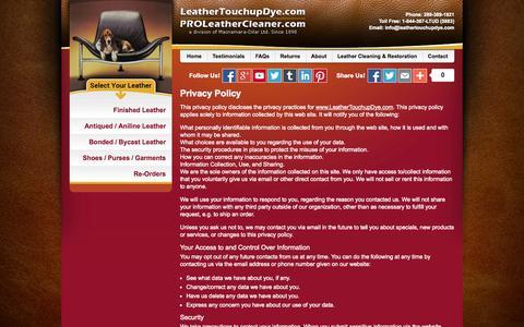 Screenshot of Privacy Page leathertouchupdye.com - LeatherTouchupDye.com Privacy Policy - captured Nov. 1, 2014