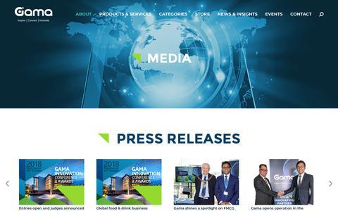 Screenshot of Press Page gamaconsumer.com - Media - Gama - captured July 16, 2018