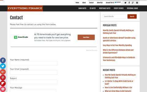 Screenshot of Contact Page everythingfinanceblog.com - Contact - captured May 18, 2019