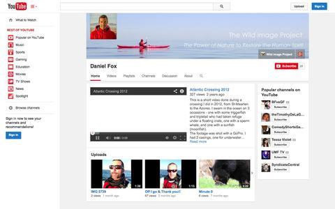Screenshot of YouTube Page youtube.com - Daniel Fox  - YouTube - captured Oct. 26, 2014