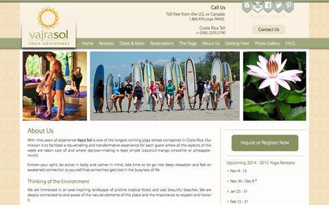 Screenshot of About Page vajrasoltravel.com - About Vajra Sol Yoga Adventures   Santa Teresa, Costa Rica - captured Oct. 27, 2014