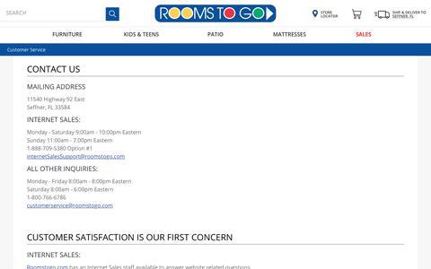 Screenshot of Support Page roomstogo.com - Customer Service - captured Feb. 6, 2020