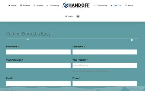Screenshot of Trial Page e-handoff.com - Free Trial - e-Handoff - captured May 22, 2017