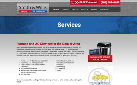 Screenshot of Services Page smithandwillis.com - Services | Air Conditioning Commerce City CO | Heat Pump | AC Unit - captured Sept. 20, 2018