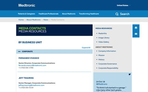 Screenshot of Press Page medtronic.com - Media Contacts   Business Unit - captured Oct. 25, 2018