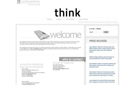 Screenshot of Press Page case.edu - Media - Think Magazine - captured June 16, 2015