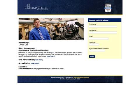 Screenshot of Landing Page cazenovia.edu - Cazenovia College Management: Sport Management -- Be Strategic. - captured March 2, 2016