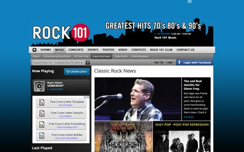 Screenshot of Press Page rock101.com - Classic Rock News | Rock 101 - Greatest Hits 70's 80's & 90's - captured Jan. 24, 2016