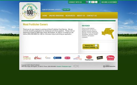 Screenshot of Jobs Page woodfruitticher.com - Careers in the Food Service Industry - captured Oct. 26, 2014
