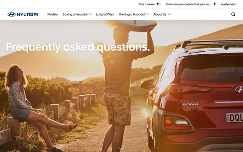 Screenshot of FAQ Page hyundai.com - Frequently asked questions | Hyundai Australia - captured Sept. 15, 2019