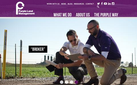 Screenshot of Home Page purplelandmgmt.com - Home - Purple Land Management - captured Dec. 12, 2015