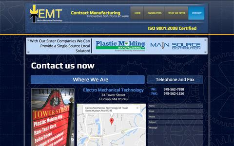 Screenshot of Contact Page elecmechtech.com - EMT Contract Manufacturing and PCB Assembly  | CONTACT - captured Nov. 3, 2016