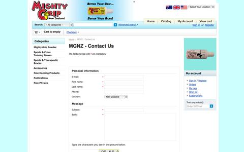 Screenshot of Contact Page mightygrip.co.nz - Contact Us - MGNZ - captured Oct. 6, 2014