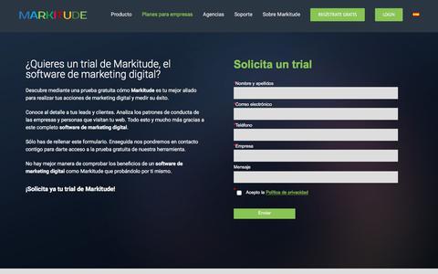 Screenshot of Trial Page markitude.com - Prueba gratis este software de Marketing & Data   Markitude - captured July 26, 2018