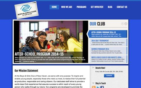 Screenshot of Home Page bgcnewhaven.org - Great Futures Start Here! - Boys & Girls Club of New Haven - captured Oct. 5, 2014