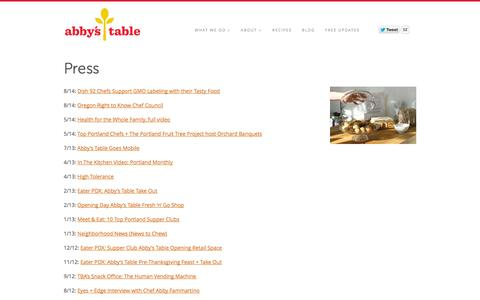 Screenshot of Press Page abbys-table.com - Press - Abby's Table - captured Sept. 30, 2014